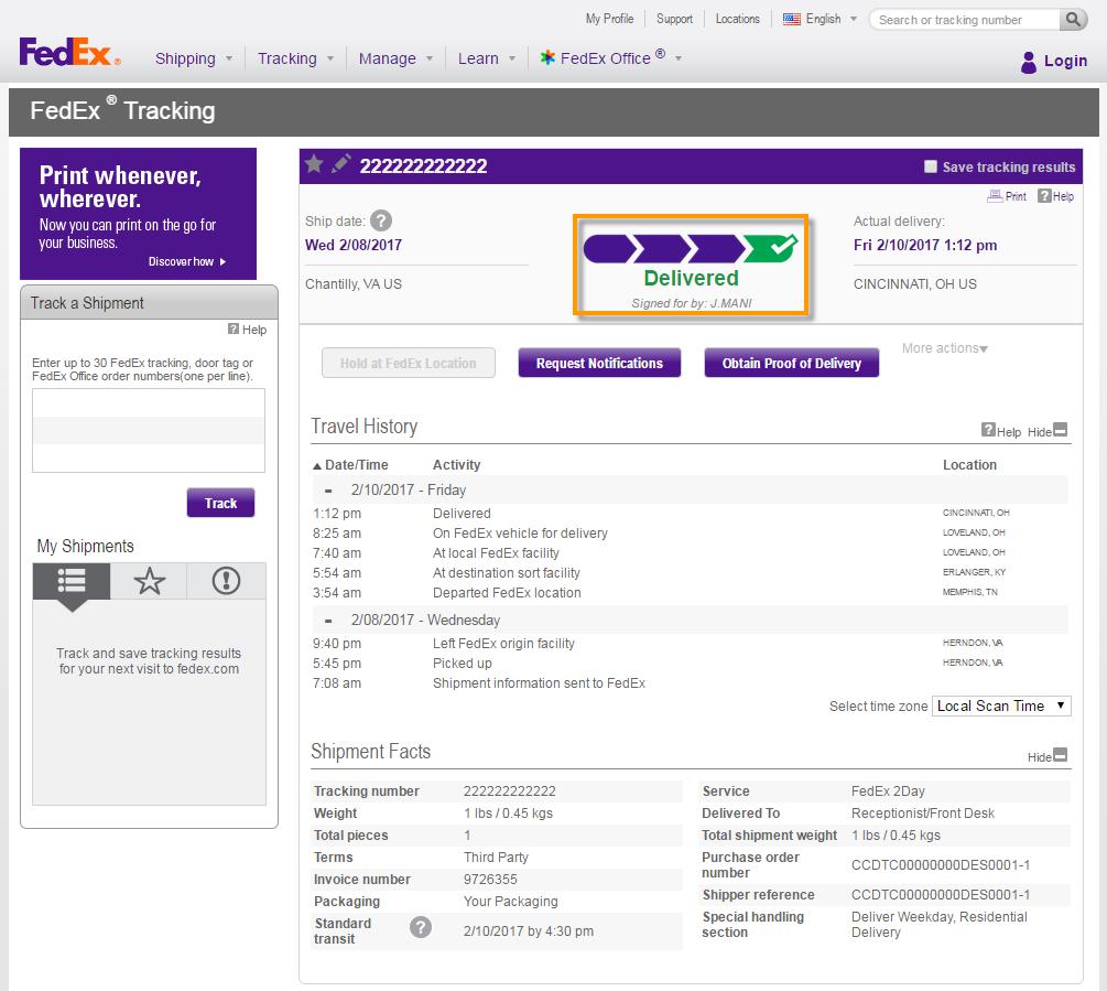how to check fedex shipment history